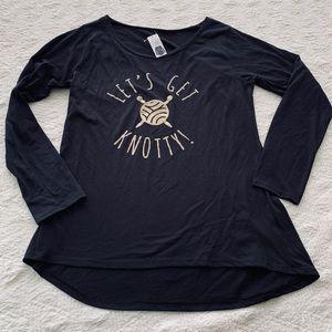 "Tops - Longsleeve black ""let's get knotty"" knitting shirt"